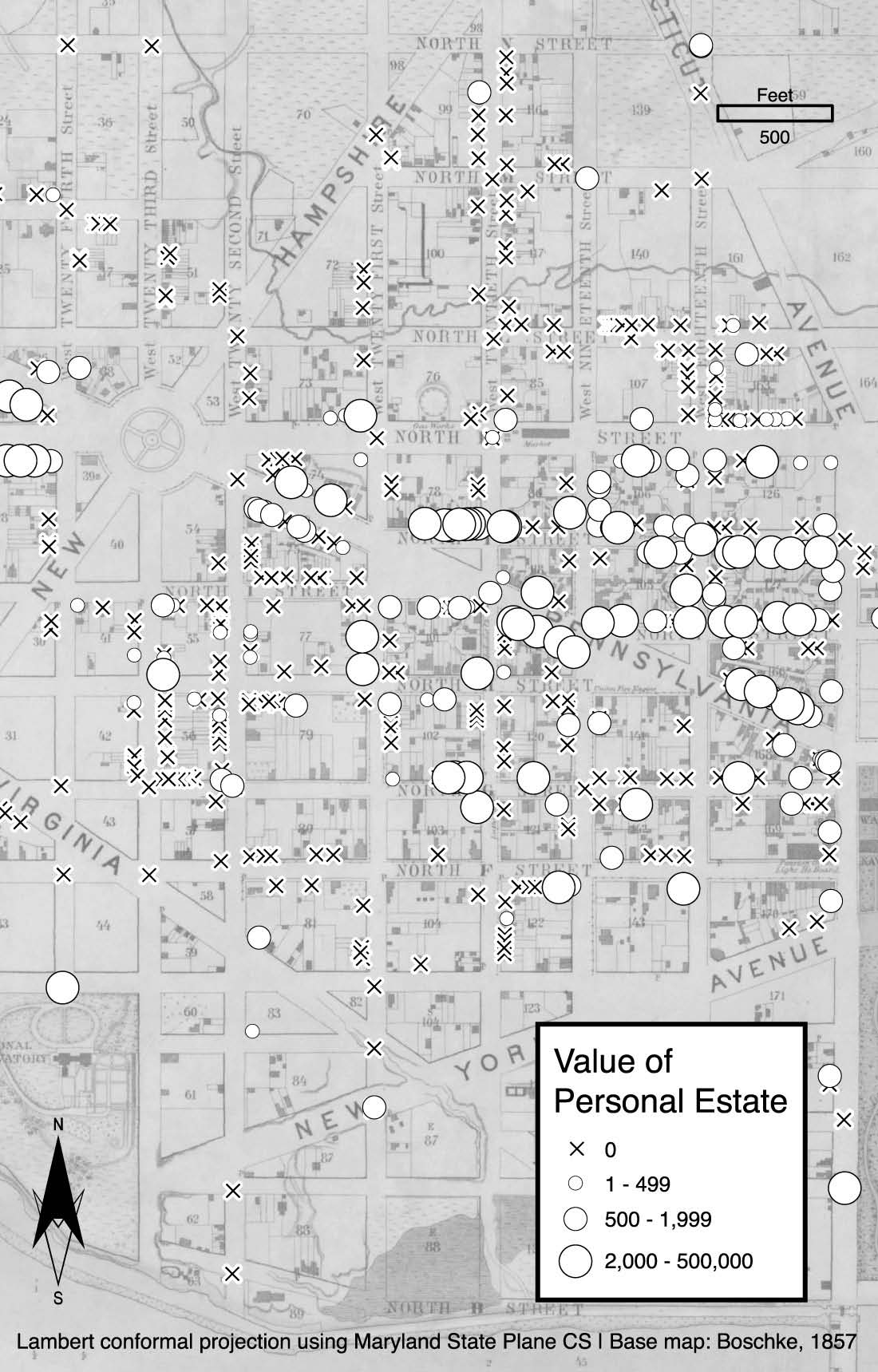 Image of a map showing personal estate values in Washington, DC's First Ward