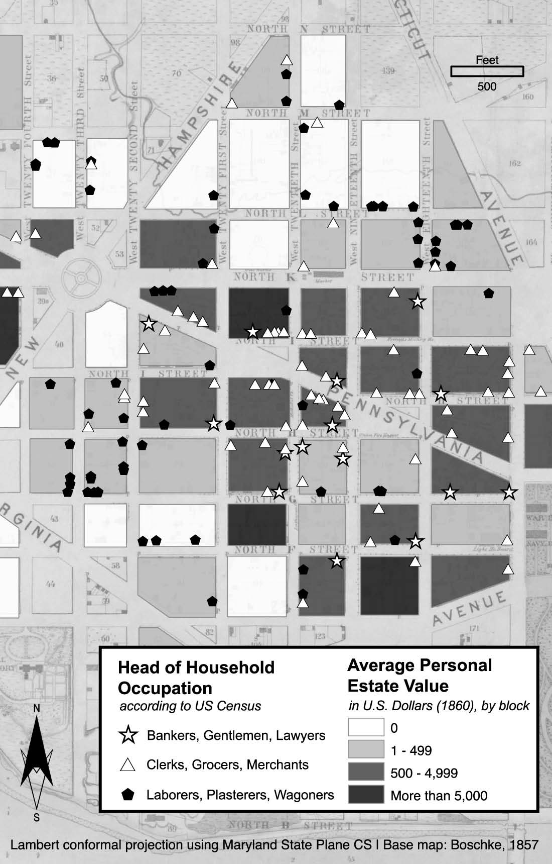 Image showing value of average personal estate values depicted on a map of the First Ward in Washington, DC