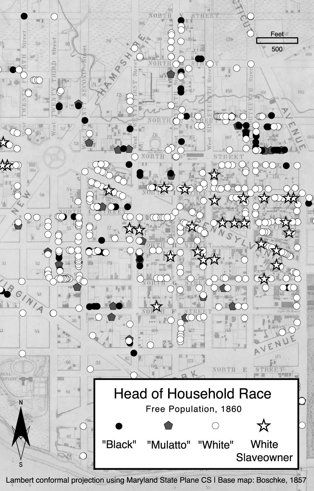 Image showing head of household race, including slave owners, depicted on a map of the First Ward in Washington, DC